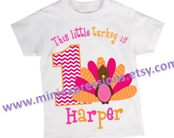 This Little Turkey Thanksgiving Birthday shirt Personalized