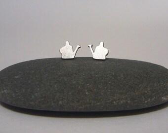 Sterling silver watering can earrings