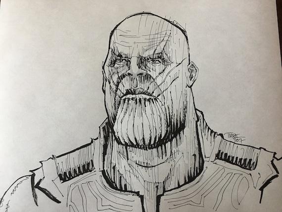 Original Thanos Ballpoint Pen Sketch Drawing
