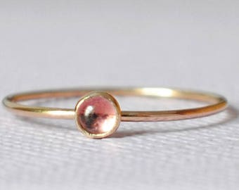 Tourmaline Ring / 14k Solid Gold/ Gemstone/Thin Pink Ring/Tiny Ring/Stacking Ring/October/Custom Teeny Weenie Simple Stacker Pink Tourmaline