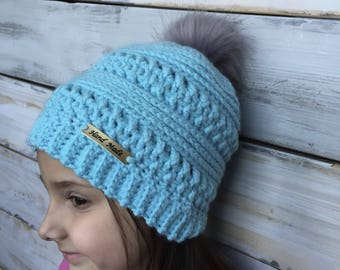 FREE SHIPPING child size ribbed slouch hat, blue pompom hat, blue faux fur pompom hat, blue fur pompom hat, slouch pompom hat, fur pompom