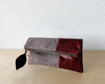 Leather and Wool Clutch in Red Patent Italian Leather and Burgundy European Wool - Indie Patchwork Series