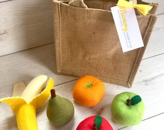 Pretend Play Felt Food Fruit Collection with Mini Jute Shopping Bag