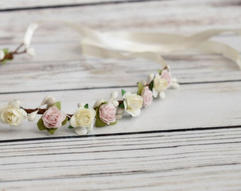 Handcrafted Pastel Pink and Ivory Rose Flower Crown - Spring Wedding Accessory - Flower Girl Halo - Light Pink Bridesmaid - Woodland Halo