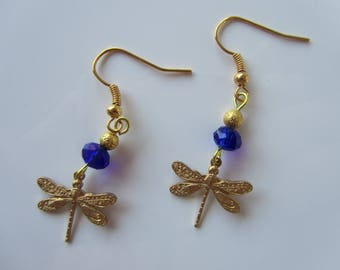"""Earrings """"Eolia"""" Golden Dragonfly and beads"""