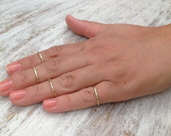 Stacking rings, Gold ring, stacking gold ring, knuckle rings, thin gold ring, hammered ring, tiny ring, gold knuckle rings -522/4