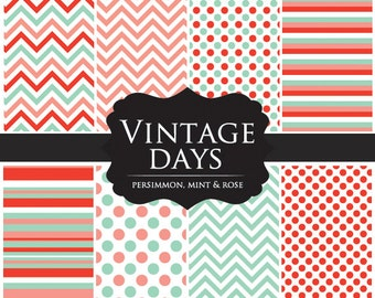 Scrapbook paper digital - chevron paper, polka dots, for scrapbooking in persimmon, mint, rose for personal and commercial use