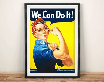 ROSIE RIVETER POSTER: Vintage 'We Can Do It' Advert, Feminism Art Print Wall Hanging