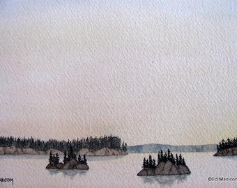 5x7 or 8x10 Islands in the Lake Archival Print. Gouache, Watercolour Print. SFA (Small Format Art) Isles, Water, Lake, Trees, Rocky Ridge