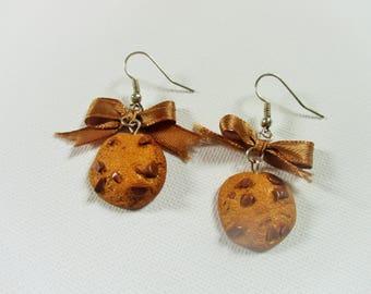 Cookies chocolate polymer clay earrings
