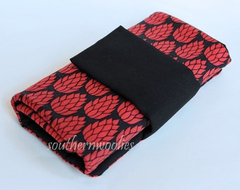 Knitting Needle Case for Interchangeable Tips and Circulars - Bold Red & Black