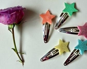 FIVE glitter star rainbow assorted snap clips (pink, orange, yellow, green blue)