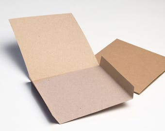 50 Brown Recycled Kraft Card CD DVD Sleeve/Wallet/Cover Unbranded/Blank (Flat)