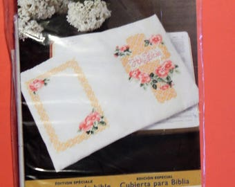 Bucilla Special Edition Wild Rose stamped cross stitch Bible cover kit
