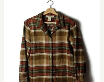 ON SALE Brown  Plaid Wool Blends Fringed Flannel Blouse from 90's*