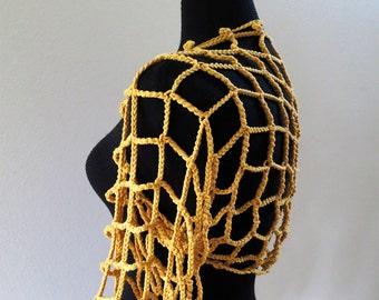 Shrug Scarf Warm Yellow Mustard Golden Color Crochet Lacy Strings Summer Shoulder Shrug Wedding Bolero Sleeves