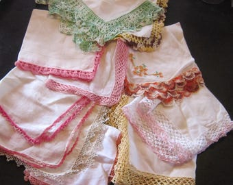 lot of 11 crocheted hankies vintage hankies some tatting