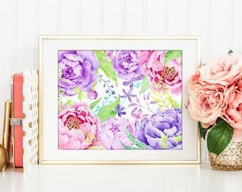 No.72 Watercolor purple peony printable, floral arrangement, wedding printable, wall decor, instant download