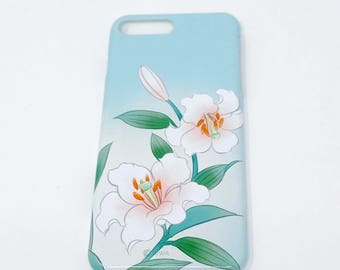 Cell Phone Cover - Lily / Aqua Green