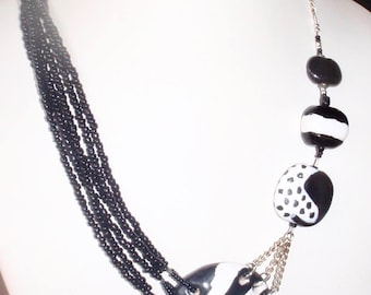 Black and White Kazuri Ceramic Pendant Necklace