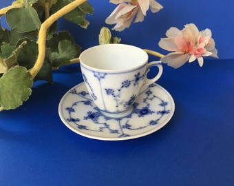 Beautiful and Dainty Danish Royal Copenhagen Demi Cup and Saucer in Cobalt Blue and White