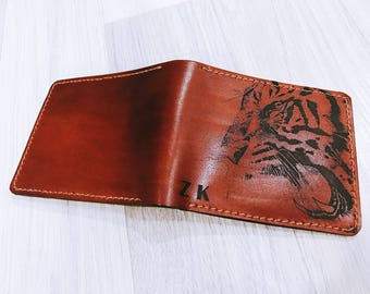 Tiger wallet/Animal wallet/Man wallet/leather wallet/custom wallet/boyfriend gifts/birthday gifts/anniversary gift/Tiger roar