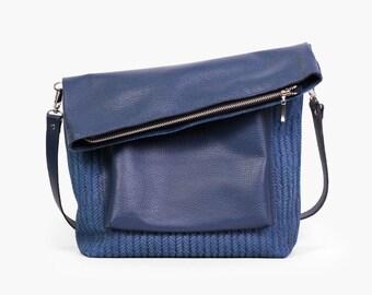 """Blue Leather Bag """"Ursula Blue"""",  Blue Cross Body Bag , Leather Cross Body, Blue Crossbody Purse, Leather Shoulder Bag"""