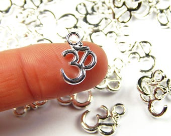 20 Pcs - 16x11mm Om Charms - Yoga Charms - Silver Charms - Jewelry Supplies