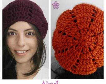 Crochet beret pattern. Easy crochet beanie PDF pattern _ M03
