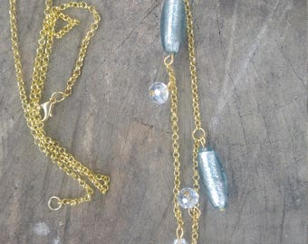Murano Glass Necklace, Long Necklace, Golden Necklace, Necklace for Women, Long Necklace Beaded, Gold
