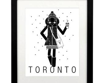 Toronto Art Printable, Toronto travel poster, Toronto Print, Toronto girl, Toronto Poster, Toronto art, 8 x 10, Toronto Art Download, Tdot