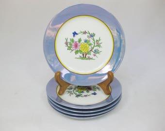 Japanese Lusterware, Noritake Bread Plates, Hand Painted Lusterware 5 pcs Dessert Plates