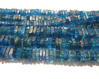 Dark Blue Apatite - 16 Inch Strand - Square Heishi Beads - Size 4mm approx - AAA gems - Wholesale Price