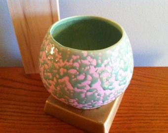 McCoy Pottery, Brocade Pattern, Vase with Blush Pink and Green Glaze, Vintage Art Pottery