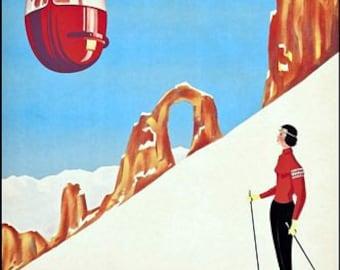 Vintage Tignes Winter Sports Tourism Poster A3 Print