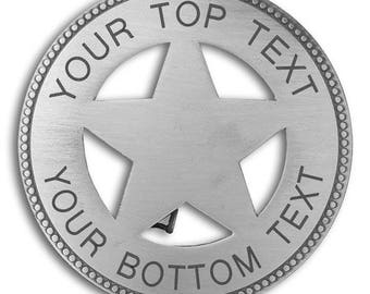 Round Cut-Out 5 point STAR BADGE with Your wording.