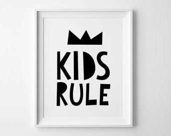 Kids wall art, Children room decor, playroom poster, Black and white, nursery art, Kids rule, mini learners, kids room decor, nursery print