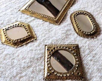 Set of 4 handmade geometric wall moroccan brass mirrors  || Gift ||  Moroccan Mirrors || Mini || Boho home