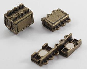 10 Sets, 3 Hole Standart Clasp, Bracelet Clasp, Necklace Clasp, Antique Bronze Closure, Vintage Clasp, Magnetic Clasp, Strong Magnet, CHD49