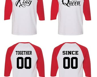 Her King Of The North His Mother Of Dragons Matching Couple Straight Fit Unisex Raglan Tee l His and Hers VxFXa