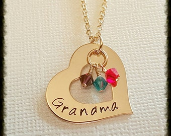 """Gold Filled Family Necklace • Hand Stamped Mothers / Grandmothers / Name Necklace with Birthstone Crystal Charms Beads ~ 1"""" Heart Washer"""