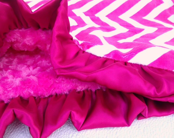 Fuchsia Pink Chevron  and Rose Swirl Minky Baby Blanket