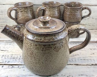 Pottery, Handmade Stoneware Ceramic Rustic Tea Set Service for 6