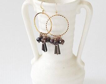 Cluster Earrings - Earthy Earrings - Dangle Hoop Earrings - Everyday Earrings - Best Friend Earrings Gift - Dangle Earrings for Mom