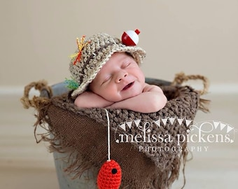 READY TO SHIP Popular Fishing Hat, Baby Fisherman Crochet Hat & Fish in Oatmeal and Taupe, Newborn, 0-3, 3-6, Photography Prop