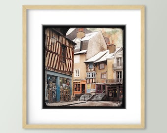 Rue de Penhoët - Rennes - Fine Art Print 30x30cm - Signed and numbered