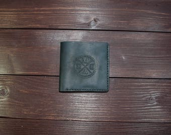 Genuine leather Vertical Card Portmone Black Brown Navy Blue Handmade Crazy Horse Handcrafted Leather Wallet Minimalistic Cash wallet