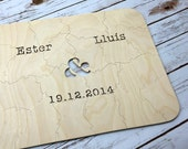 10 pc Custom Wedding Guestbook Puzzle, guestbook alternative, wedding AMPERSAND puzzle guest book, Bella Puzzles™ rustic bohemian wedding