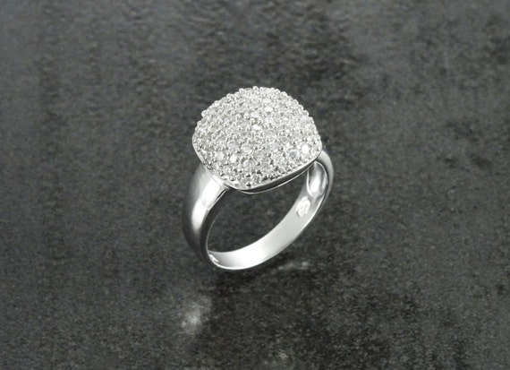 Diamonds Pave Ring, Sterling Silver, Lab Diamonds Set Ring, Engagement Ring, Valentines Day Gift, Party Ring, Birthday gift,Celebration Ring