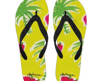 Strawberry Tropic Canvas and Vinyl Flip Flops- Men's and Women's: S, M, L, XL